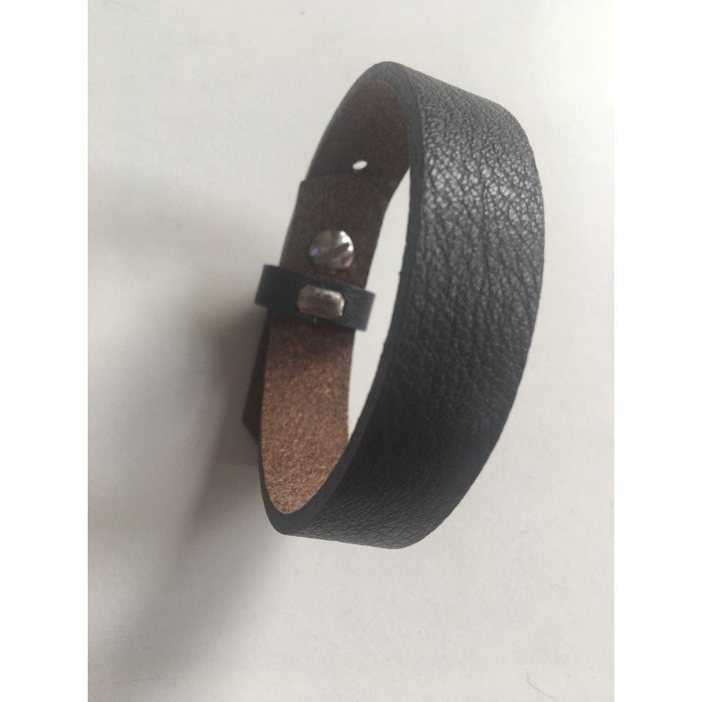 One of a Kind Club Black Wide Leatherette Bracelet