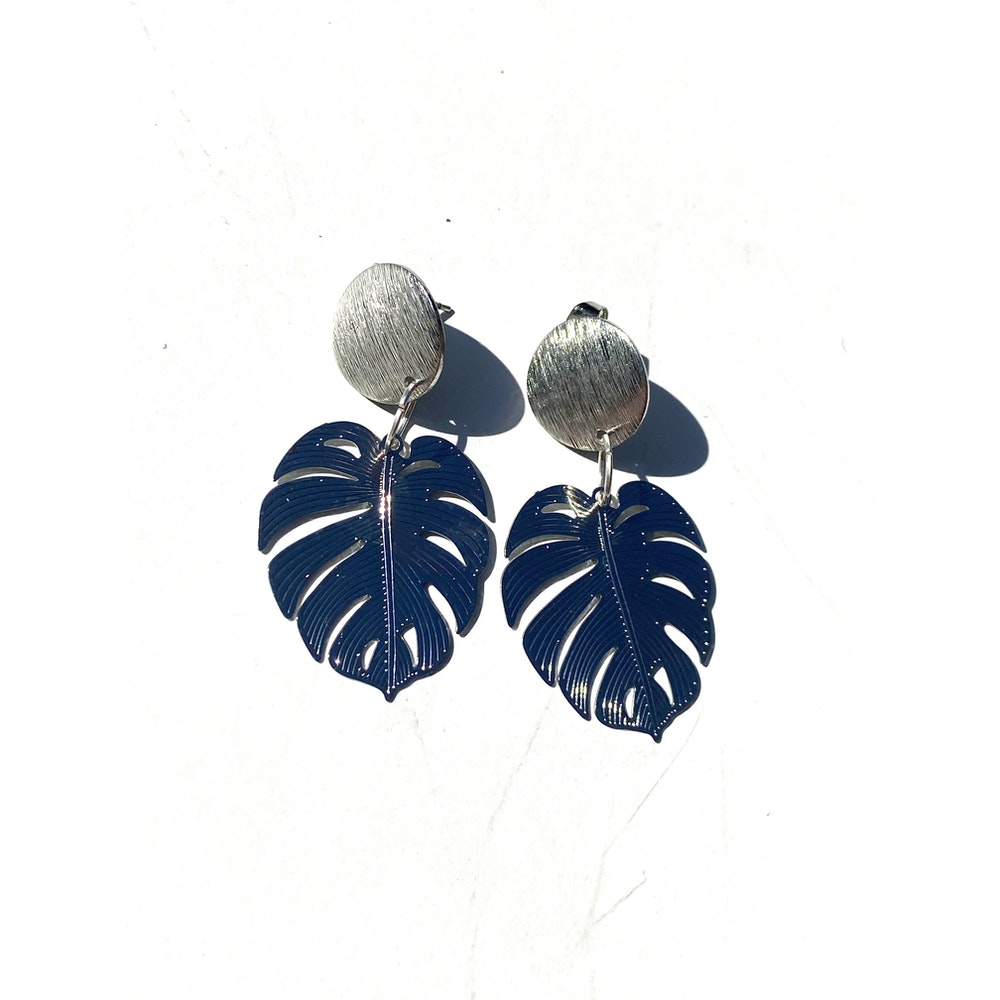 One of a Kind Club Monstera Solid Bohemian Leaf Stud Dangle - Silver
