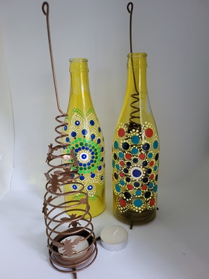 Divine Dotting Candle Holders Hand Painted Dot Art