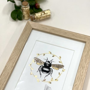 A5 Framed 'Golden Glow Bee' Limited Edition Print with Hand-Applied Gold-Leaf Metals.