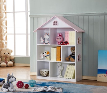 All 4 Kids Veronica Girls's Pink Roof Dollhouse Bookcase
