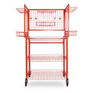 Multi Level Parts Cart with Adjustable Hook Shelves