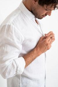 DESTii White Long Sleeve Linen Shirt