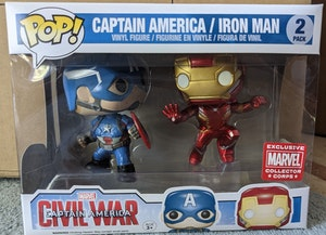 MCC Marvel Collector Corp Exclusive Captain America: Civil War - Captain America & Iron Man Movie Moment Pop Vinyl 2-pack