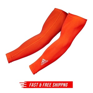 Adidas Compression Arm Sleeves Cover Basketball Sports Elbow Support S/M - Red