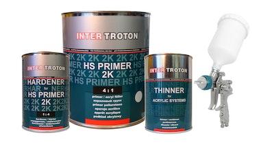 Troton HS Primer 2K Deal - Includes Primer 4:1 3.6Lt / Thinners / Hardener / KR808 1.7mm Gun