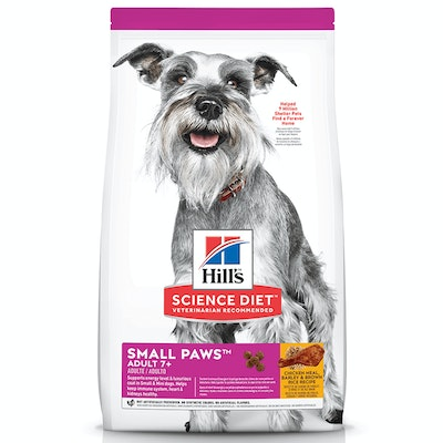 Hills Adult 7+ Small Paws Dry Dog Food Chicken Meal Barley & Brown Rice 1.5kg