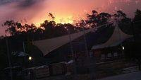 Parkgate Resort Halls Gap faces the flames. pic. Samantha Magill