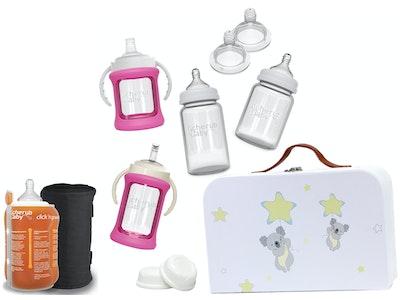 Glass Baby Bottles Starter Kit Bundle & Warmer - Pink