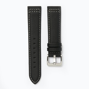 Time+Tide Watches  Black + Grey Stitch Nylon Sail Cloth Watch Strap