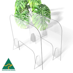 Regal by Anh Hoang Sneeze Guard Clear Acrylic Protective Shield / Screen with Stand (765W x 600H) 2 Pack