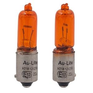 2 x BAY9S Long Amber Bulbs
