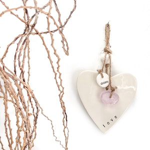Caroline C Heart - Love, Pink Glass