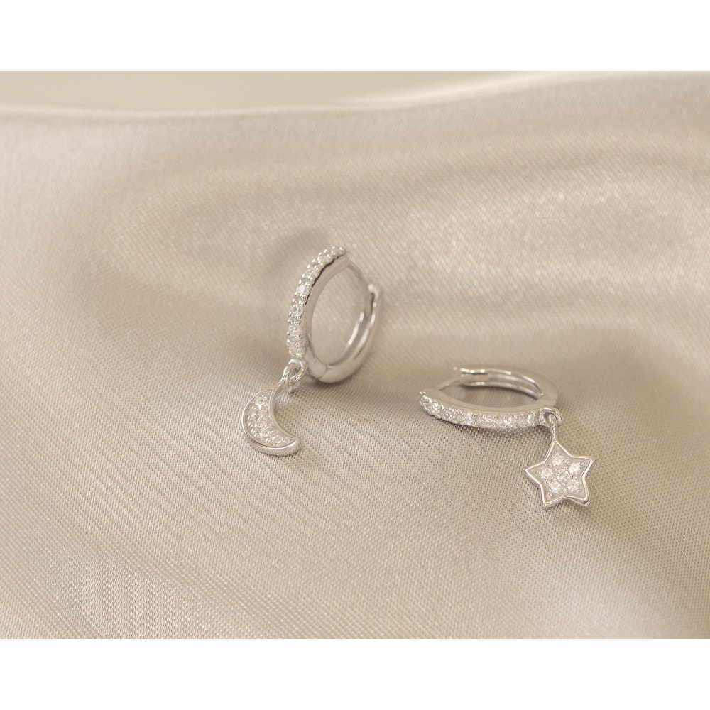 Jessica Alice Jewellery Sterling Silver Star & Moon Huggies