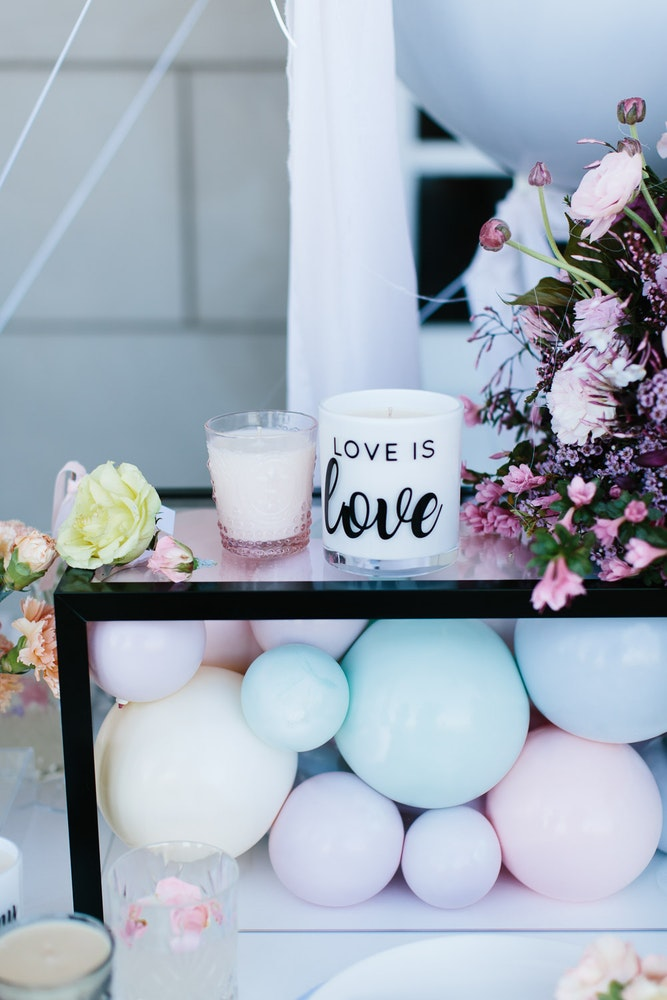 LENZO Love is Love Wedding Aroma Luxe Candles Balloons