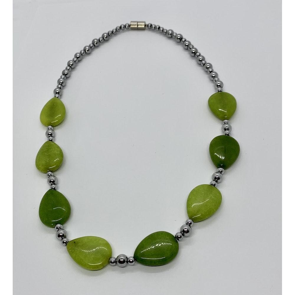 Fayre Maiden Apple Green Jade Teardrop Necklace