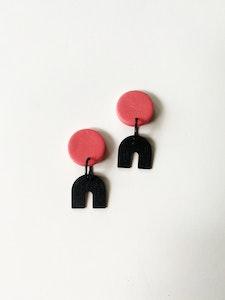 Minimalist- Small Dusty Pink Round Dangle