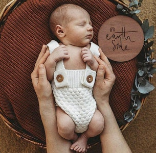 Bubba Bump Baby Earth Side Wooden Birth Announcement Disc