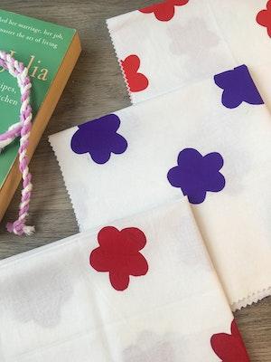 Julevidge Flowers design boomerang rewrap, reusable fabric gift wrap.