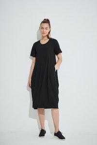 Tirelli - Short Sleeve Diagonal Dress - Black