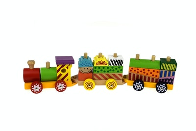 Kaper Kidz COLOURFUL WOODEN BLOCK TRAIN