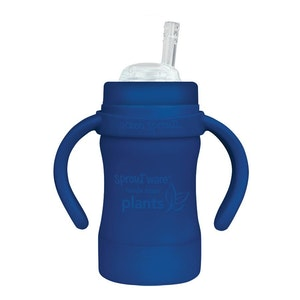 green sprouts Sprout Ware Straw Cup made from Plants-6oz-Navy-9mo+