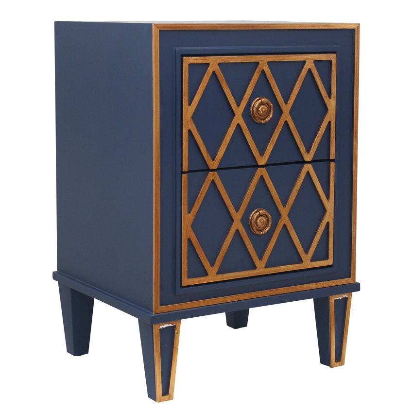 Da criss cross royal blue gold 2 drawer bedside for Outdoor furniture yagoona