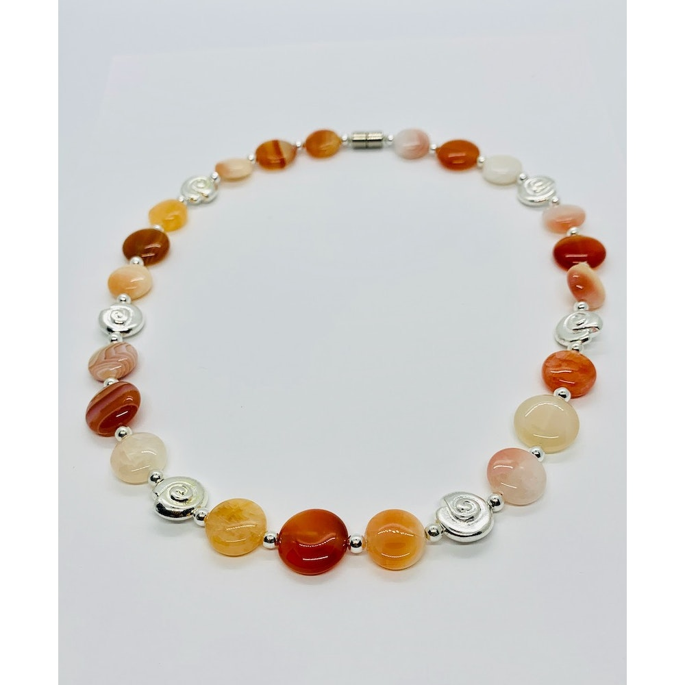 Fayre Maiden Agate And Carnelian Necklace