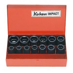 """Socket Set 12 Piece 1/2""""Dr 3/8""""-1.1/8""""AF KO14241A KoKen"""