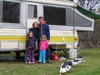 The McMahons with their Jayco Swan at Swan Hill