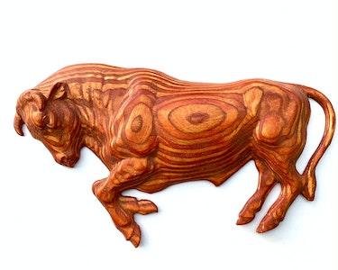 Raging bull carving