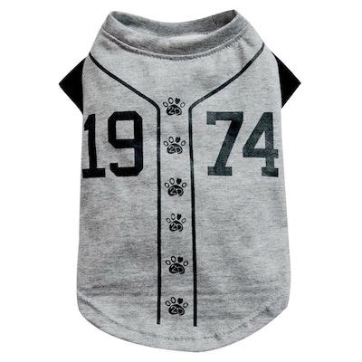 DoggyDolly SMALL DOG - Doggy Baseball T Shirt Grey