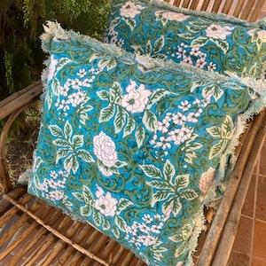 Marbella floral fringed cushion