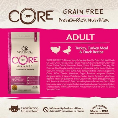 WELLNESS CORE Grain Free Turkey & Duck Dry Cat Food 907G