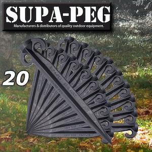 20x Supa Peg Black Polycarbonate Tent Pegs 300mm