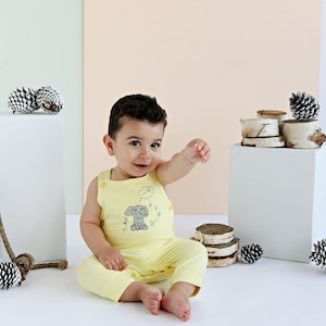 Babystory Yellow Romper with Elephant