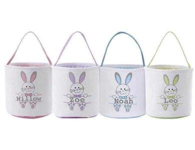 Personalised Bunny Easter Basket - Plain Font