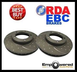 DIMPLED SLOTTED FRONT DISC BRAKE ROTORS for Ford Laser Meteor GC 1985-87 RDA930D