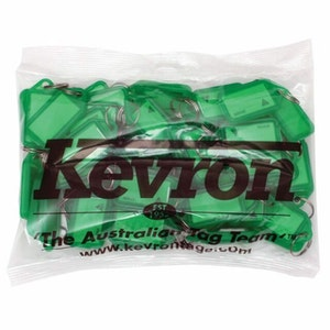 Kevron ID5 Easy Opening Plastic Key Tags – 50 Pack – Green