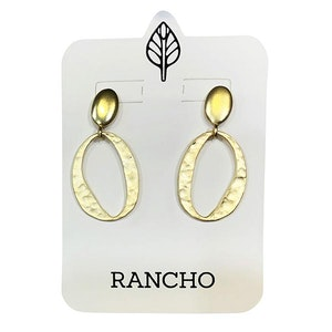 Solid Oval Stud with Hammered Oval Earring