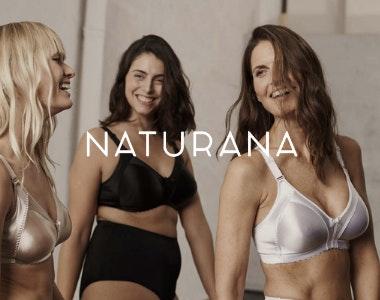 Three women wearing Naturana lingerie
