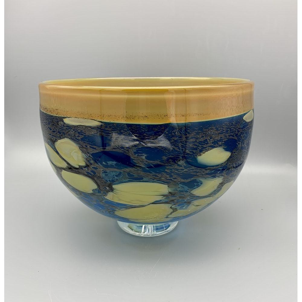 David M Flower Mouth Blown Glass Bowl - Coral Sea Pattern. Extra Large.