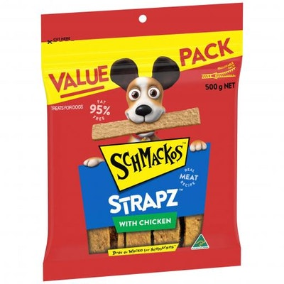 Schmackos Chicken Strapz Dog Treats 500G