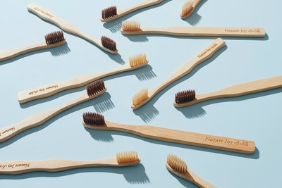 Nature Joy Bamboo Toothbrush Adults_ Biodegradable; Forestfriendly; Soft bristle; Fairtrade; 6 brushes _ 3 brown & 3 beige