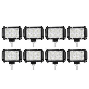 LIGHTFOX 8x 4inch 30W LED Work Light Bar CREE Reverse Flood Beam Driving Offroad
