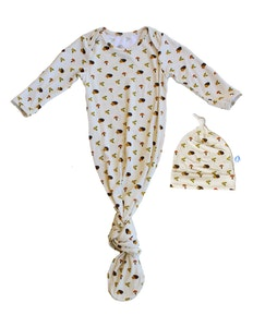 Keep Me Cosy® Baby Knotted Gown + Hat in Luxurious Bamboo Fabric - Happy HedgeHog