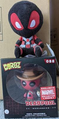Marvel Collector Corps - Cowboy Deadpool Dorbz Figure and Deadpool (Inverse Colours) Mopeez Plush Bundle