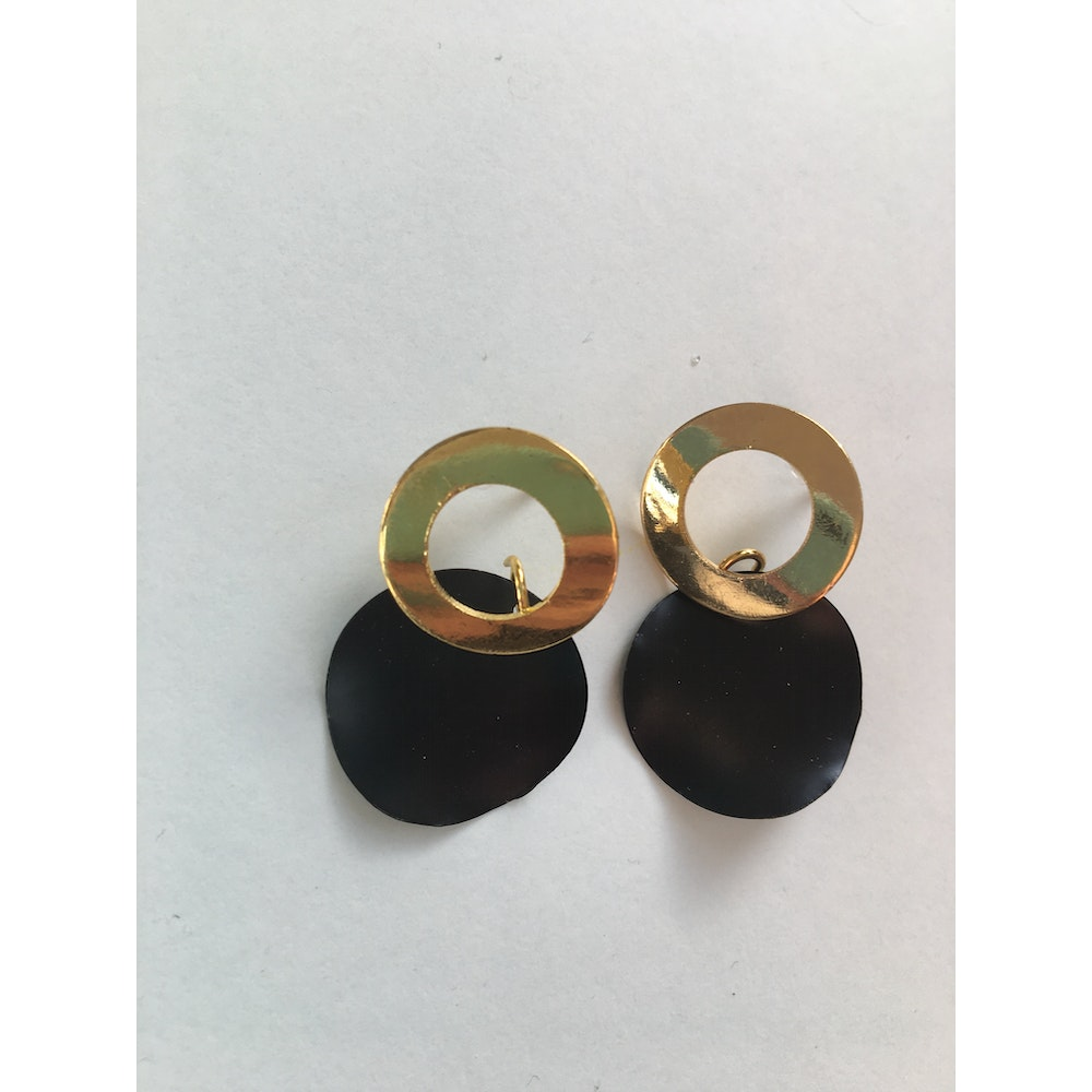 One of a Kind Club Black Strong Ring Earrings