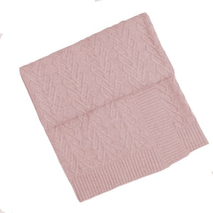 Jujo Baby Heart Cable Bassinet Blanket  -  Blush Pink
