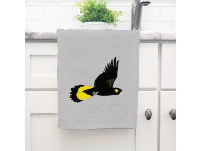 Black Cockatoo Art Tea Towel in 100% Linen
